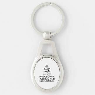 KEEP CALM AND STUDY PHILOSOPHY POLITICS AND ECONOM Silver-Colored OVAL METAL KEYCHAIN