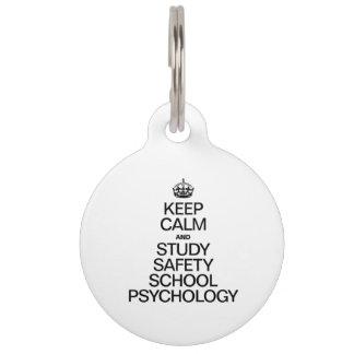 KEEP CALM AND STUDY PSYCHOLOGY PET NAME TAG