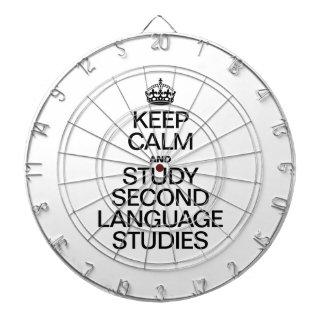 KEEP CALM AND STUDY SECOND LANGUAGE STUDIES DARTBOARD WITH DARTS