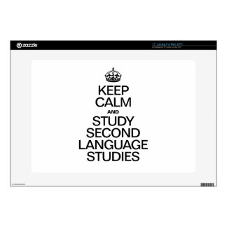 """KEEP CALM AND STUDY SECOND LANGUAGE STUDIES SKIN FOR 15"""" LAPTOP"""