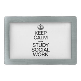 KEEP CALM AND STUDY SOCIAL WORK BELT BUCKLES