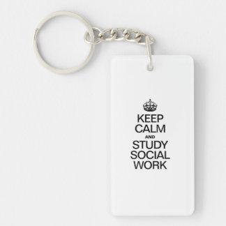 KEEP CALM AND STUDY SOCIAL WORK ACRYLIC KEYCHAINS