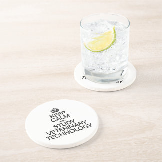 KEEP CALM AND STUDY VETERINARY TECHNOLOGY DRINK COASTERS