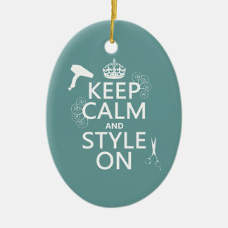 Keep Calm and Style On (any background color) Double-Sided Oval Ceramic Christmas Ornament