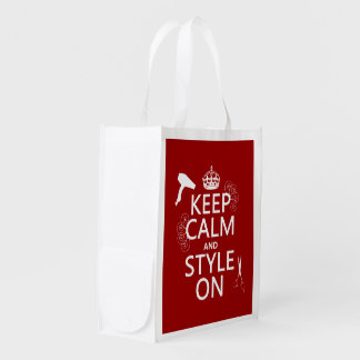 Keep Calm and Style On (any background color) Grocery Bags