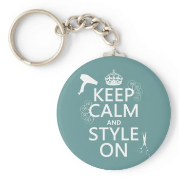 keepcalmbax Keep Calm and Style On (any background color) Keychain