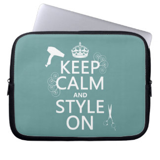 Keep Calm and Style On (any background color) Laptop Sleeve