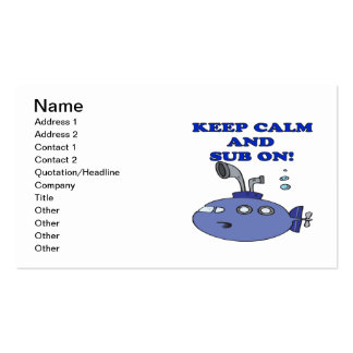 Keep Calm And Sub On 2 Double-Sided Standard Business Cards (Pack Of 100)