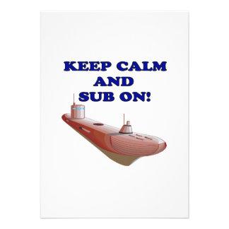 Keep Calm And Sub On Invitation