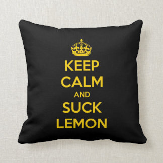 Keep calm and suck lemon throw pillow