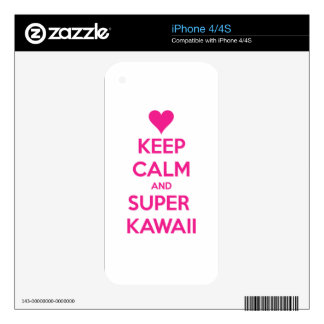 Keep Calm and Super Kawaii Decal For The iPhone 4S