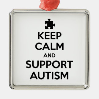 Keep Calm And Support Autism Metal Ornament