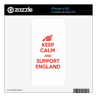Keep Calm and support England Skin For The iPhone 4S