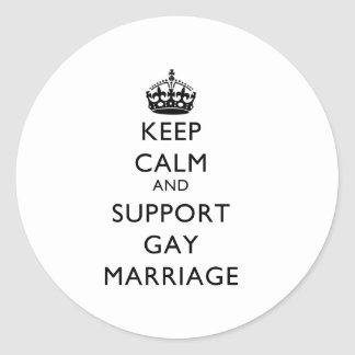 Keep Calm and Support Gay Marriage Classic Round Sticker