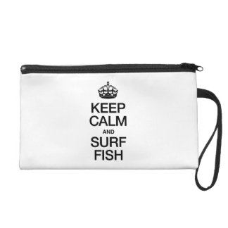 KEEP CALM AND SURF FISH WRISTLET CLUTCH