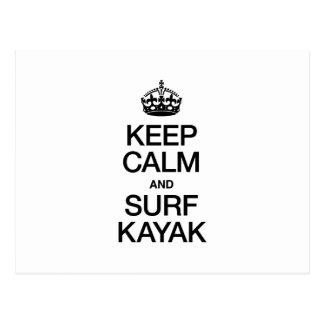 KEEP CALM AND SURF KAYAK POST CARDS