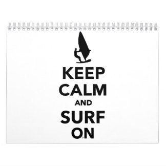 Keep calm and surf on calendar