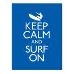 Keep Calm and Surf On Postcard