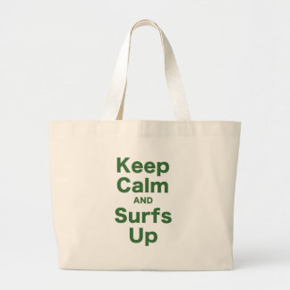 Keep Calm and Surfs Up Large Tote Bag