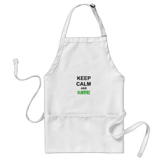 Keep Calm and Survive cracked green blue red Adult Apron