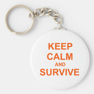 Keep Calm and Survive orange pink red Key Chains