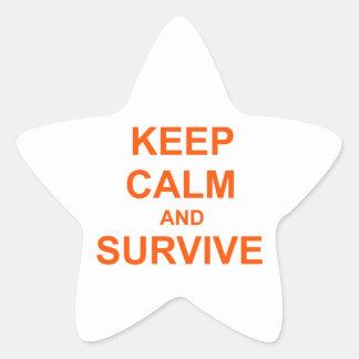 Keep Calm and Survive orange pink red Star Sticker