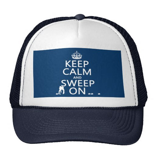 Keep Calm and Sweep On (curling)(any color) Mesh Hat