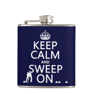 Keep Calm and Sweep On (curling)(any color) Hip Flask