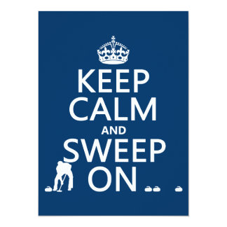 Keep Calm and Sweep On (curling)(any color) 5.5x7.5 Paper Invitation Card