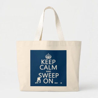 Keep Calm and Sweep On (curling)(any color) Large Tote Bag