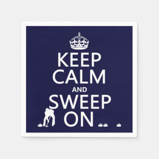 Keep Calm and Sweep On (curling)(any color) Paper Napkin
