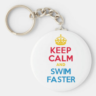 KEEP CALM and SWIM FASTER Basic Round Button Keychain