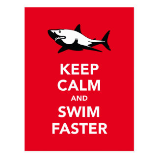 Keep calm and swim faster (white shark) postcards