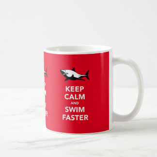Keep calm and swim faster (with white shark) mug