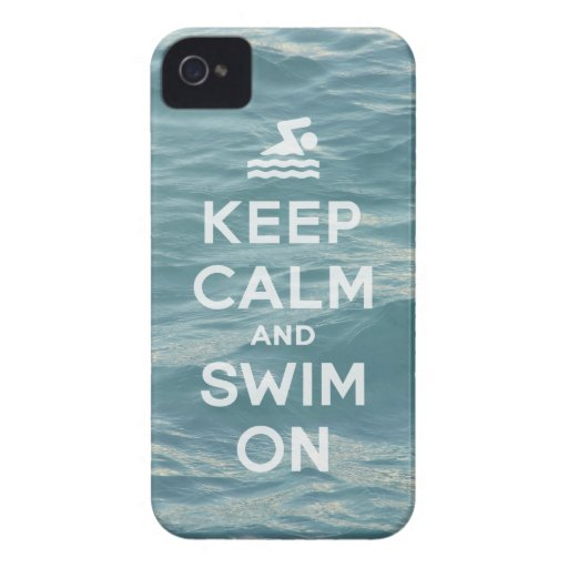 Keep Calm And Swim On Funny iPhone4S case Case-Mate iPhone 4 Case