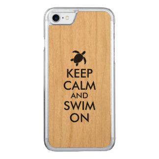 Keep Calm and Swim On Honu Sea Turtle Carved iPhone 8/7 Case