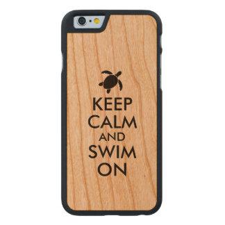 Keep Calm and Swim On Honu Sea Turtle Custom Carved Cherry iPhone 6 Case