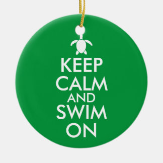 Keep Calm and Swim On Honu Sea Turtle Custom Ceramic Ornament