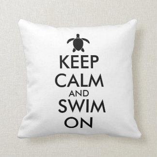Keep Calm and Swim On Honu Sea Turtle Custom Throw Pillow