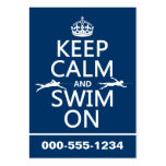Keep Calm and Swim On (in any color) Business Cards