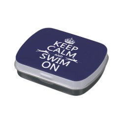 Rectangle Jelly Belly™ Candy Tin with Keep Calm and Swim On design