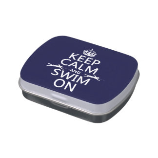 Keep Calm and Swim On (in any color) Candy Tin