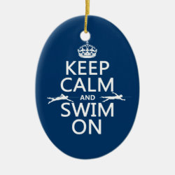 Keep Calm and Swim On Oval Ornament