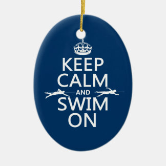 keep calm and swim on in any color ceramic ornament