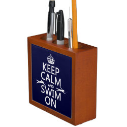 Desk Organizer with Keep Calm and Swim On design