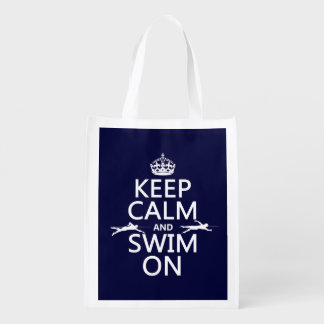 Keep Calm and Swim On (in any color) Grocery Bag