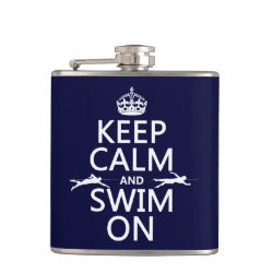 Keep Calm and Swim On Vinyl Wrapped Flask, 6 oz.