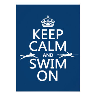 Keep Calm and Swim On in any color Invitation