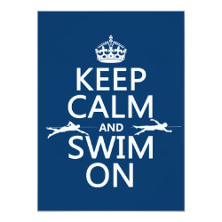 5.5' x 7.5' Invitation / Flat Card with Keep Calm and Swim On design