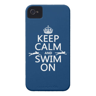 Keep Calm and Swim On (in any color) iPhone 4 Cover